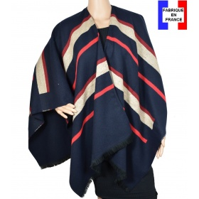 Poncho Animus bleu made in France