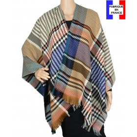 Poncho laine Enora bleu made in France