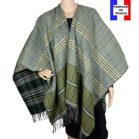 Poncho réversible Papyrus vert made in France