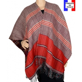 Poncho réversible Papyrus rouge made in France