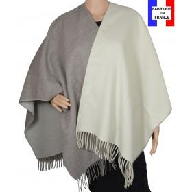 Poncho bicolore beige et écru made in France