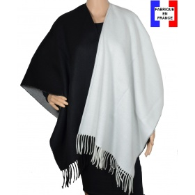 Poncho bicolore noir et blanc made in France