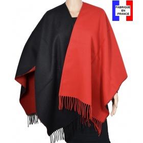 Poncho bicolore noir et rouge