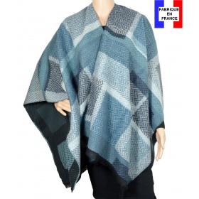 Poncho Agnella bleu made in France