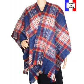 Poncho mohair ecossais bleu et rouge fabriqué en France