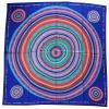 Carré soie bleu cercles multicolores