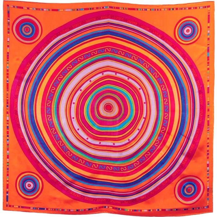 Carré soie orange cercles multicolores