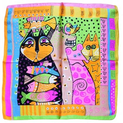 Petit carré de soie chat et poissons vs orange