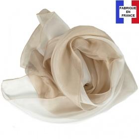 Foulard soie bicolore beige fabriqué en France