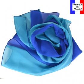 Foulard soie bicolore bleu-turquoise fabriqué en France