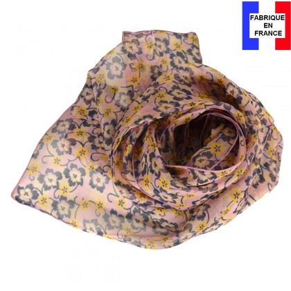 Foulard en soie Flowers rose poudré fabriqué en France