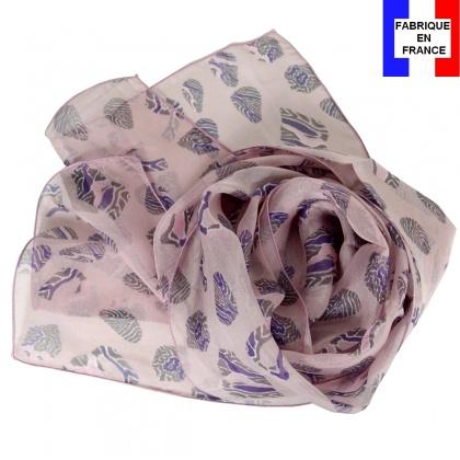 Foulard en soie Empruntes rose fabriqué en France
