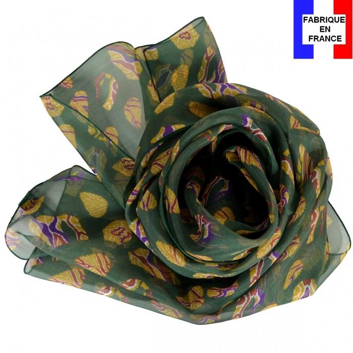 Foulard en soie Empreintes vert fabriqué en France