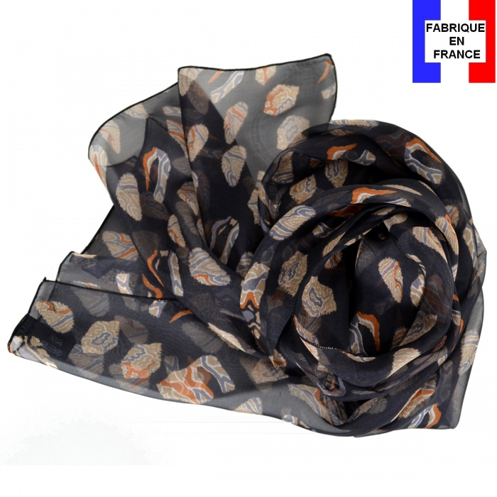 Foulard en soie Empreintes noir fabriqué en France