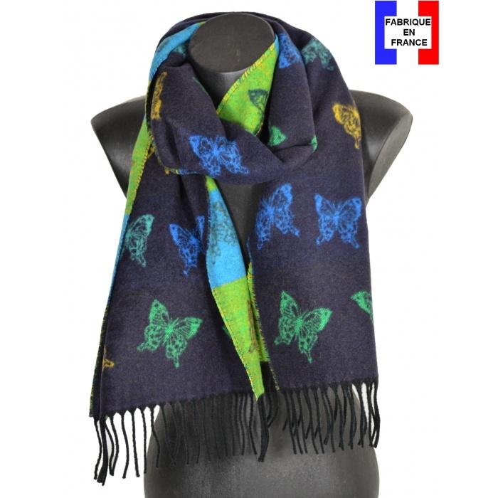 Echarpe cashcryl Papillon - bleue et verte