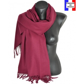 Châle en laine Iris bordeaux made in France