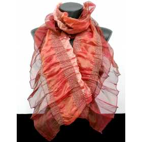 Foulard rouge orange irisé