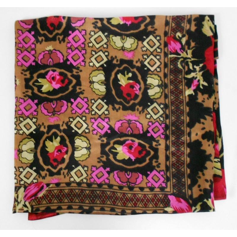 Grand carré en  soie 105 X 105 cm rose et marron