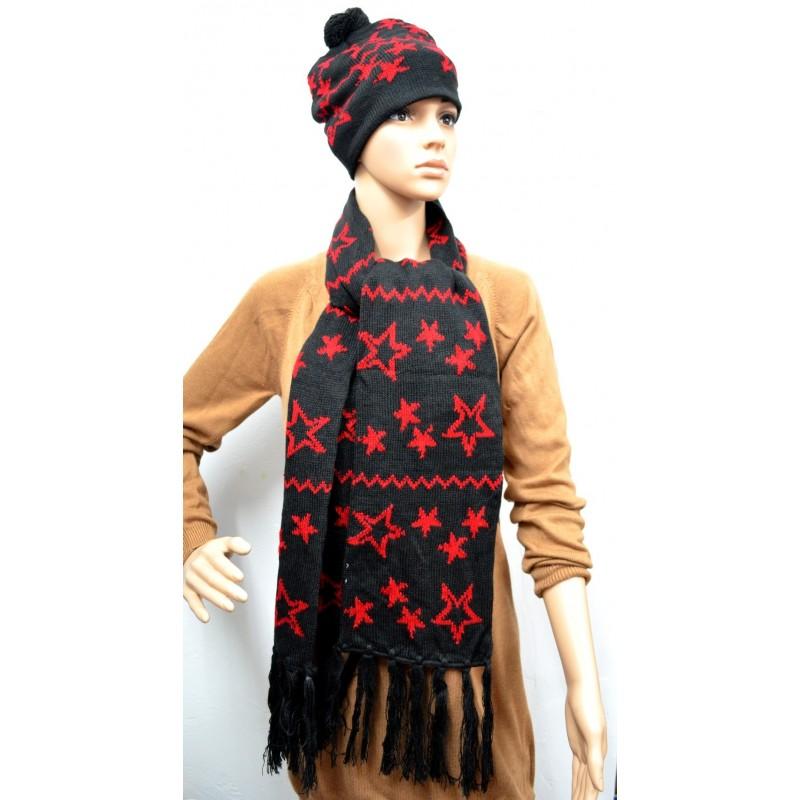 Ensemble écharpe et bonnet noir et rouge