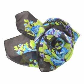Carré en mousseline marron bleu à fleurs